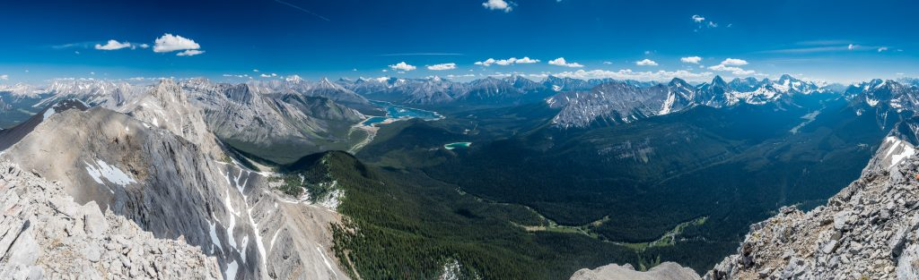 Now there's a panoramic view! Looking north (L), east (C) and south (R) off Morrison's summit includes peaks such as (L to R), Turner, Cone, Old Goat, Nestor, Lougheed, Sparrowhawk, Buller, Bogart, Engadine, Tower, Galatea, Chester, Shark, Smuts, Birdwood, Smutwood, Snow Peak and Sir Douglas among many, many others.