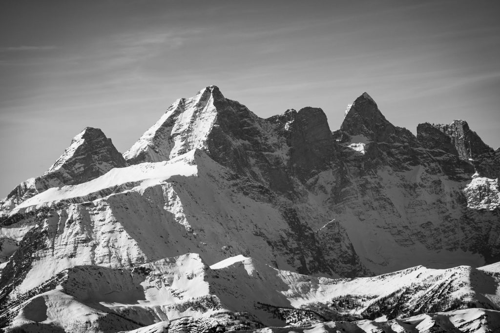 Sharp Mountain in front of Sentry, Goodsir South, Center and North (L to R).