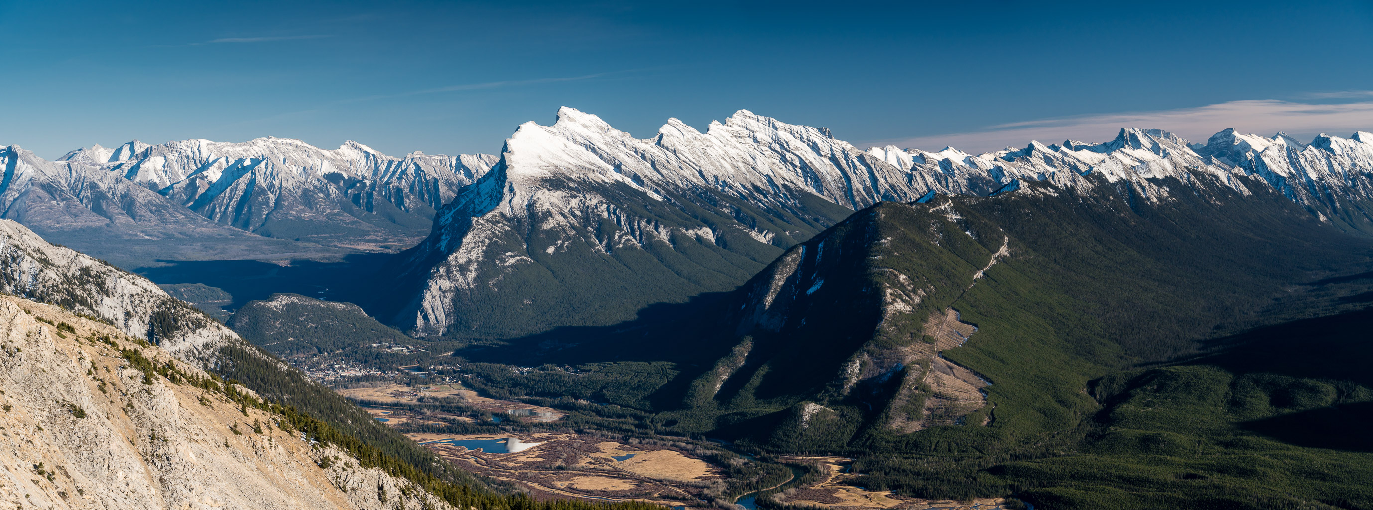 Gorgeous views over Banff towards Mount Rundle.