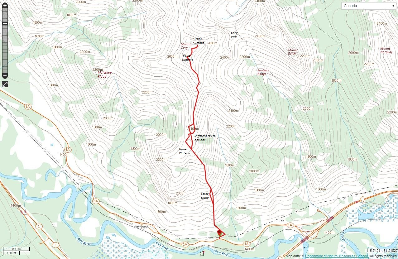 Mount Cory Route Map