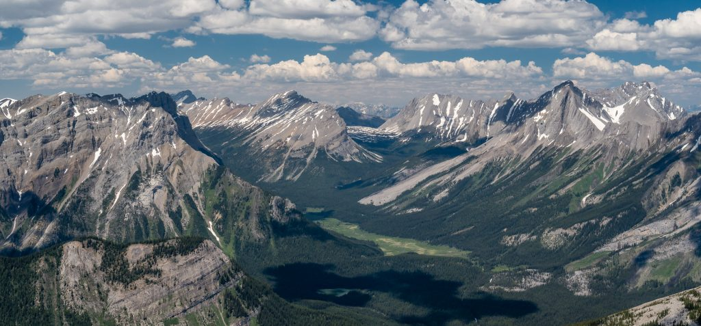 Looking over Bryant Creek to Assiniboine Pass and up the Allenby Pass past Cautley, Allenby and Beersheba (R).