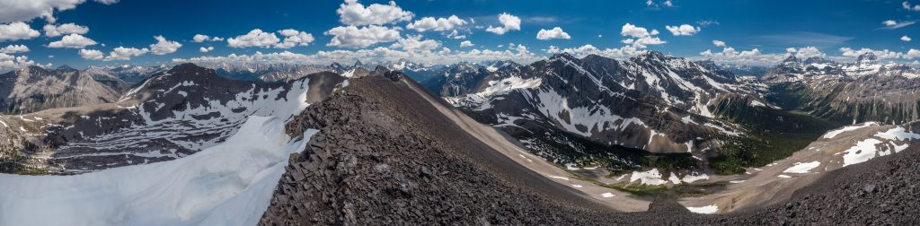 A giant pano looking towards the Spray Lakes (no longer visible) with Turner at left and Assiniboine at right.