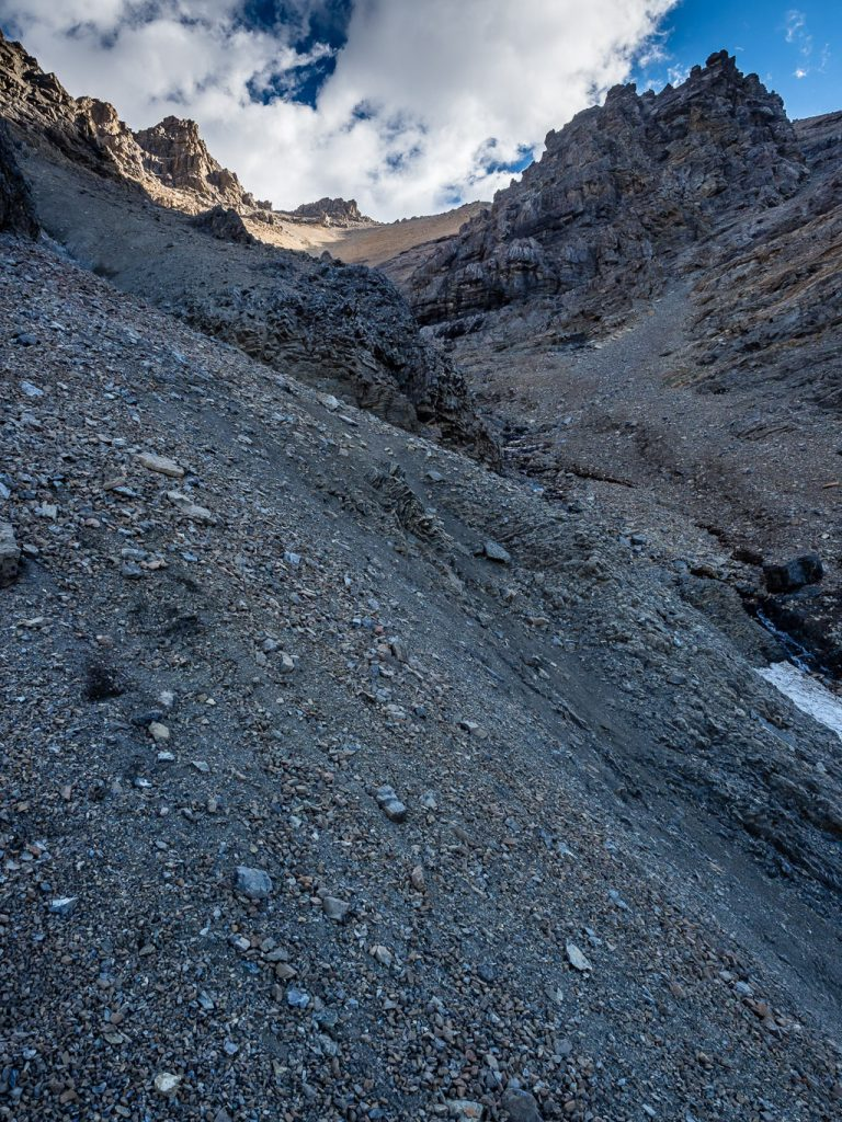 Looking up the lefthand gully. This was the worst terrain of the ascent as there were hard dirt sections which make for tricky footing.