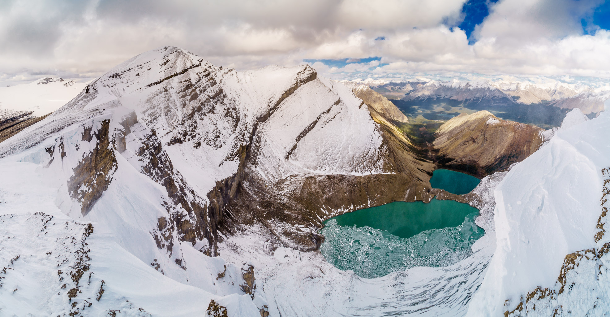 The summit of Mount Drummond at left with Drummond Lakes below.