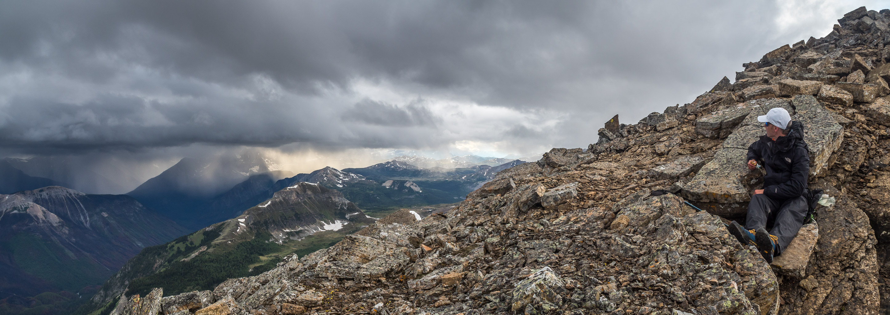 Phil awaits the storm just under the summit of Golden Mountain.