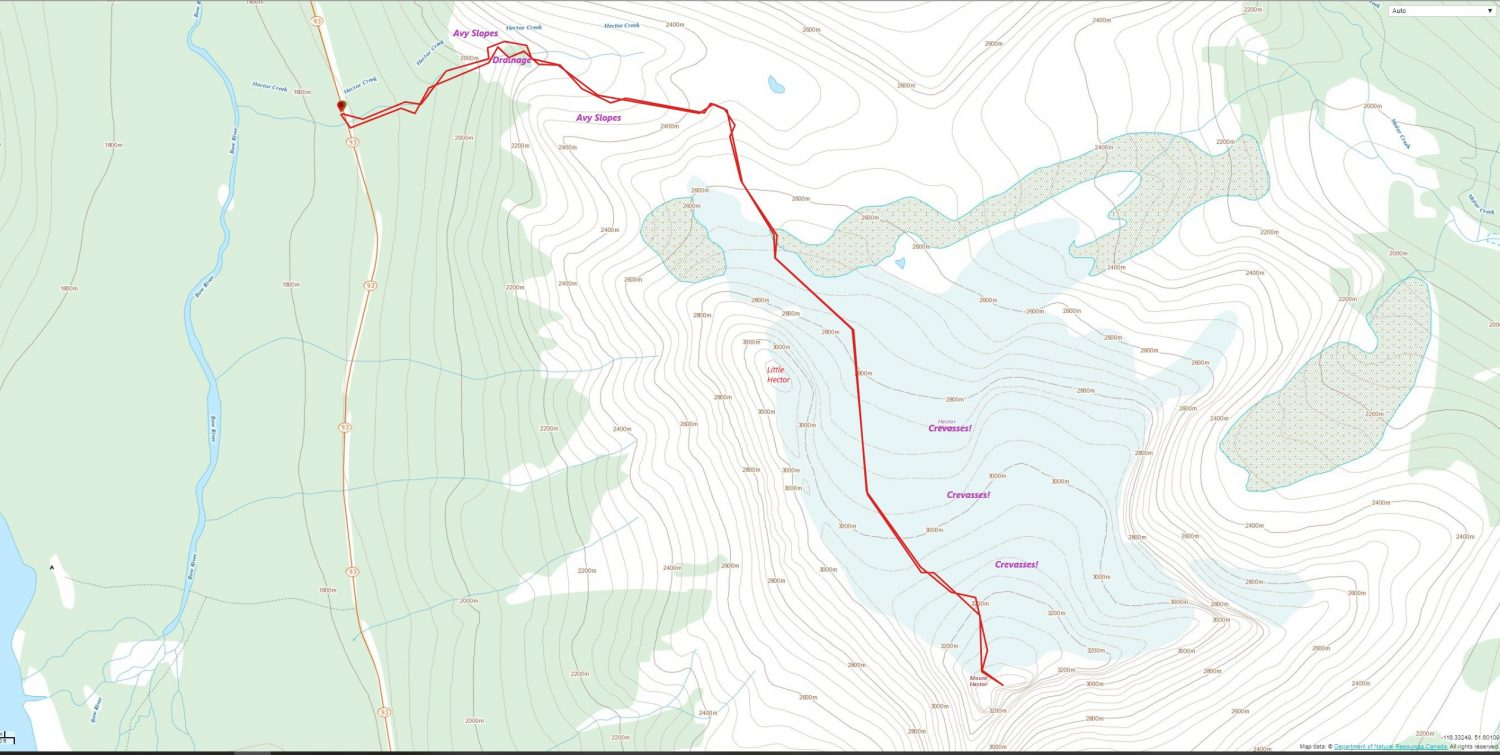 Mount Hector Ski Route Map