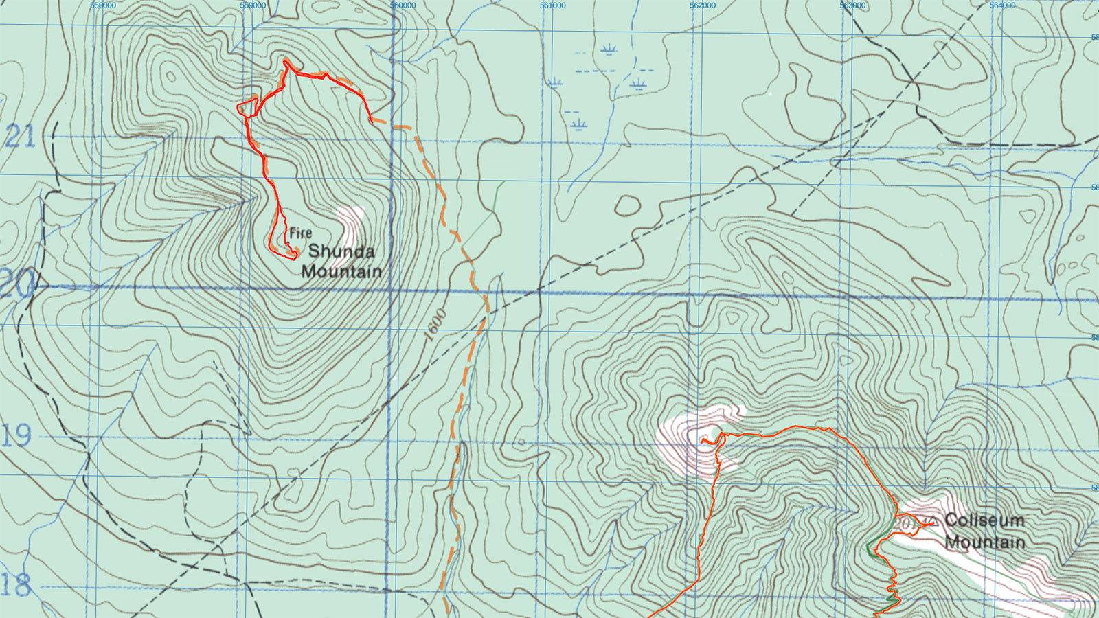 Shunda Mountain / Baldy Fire Lookout Route Map